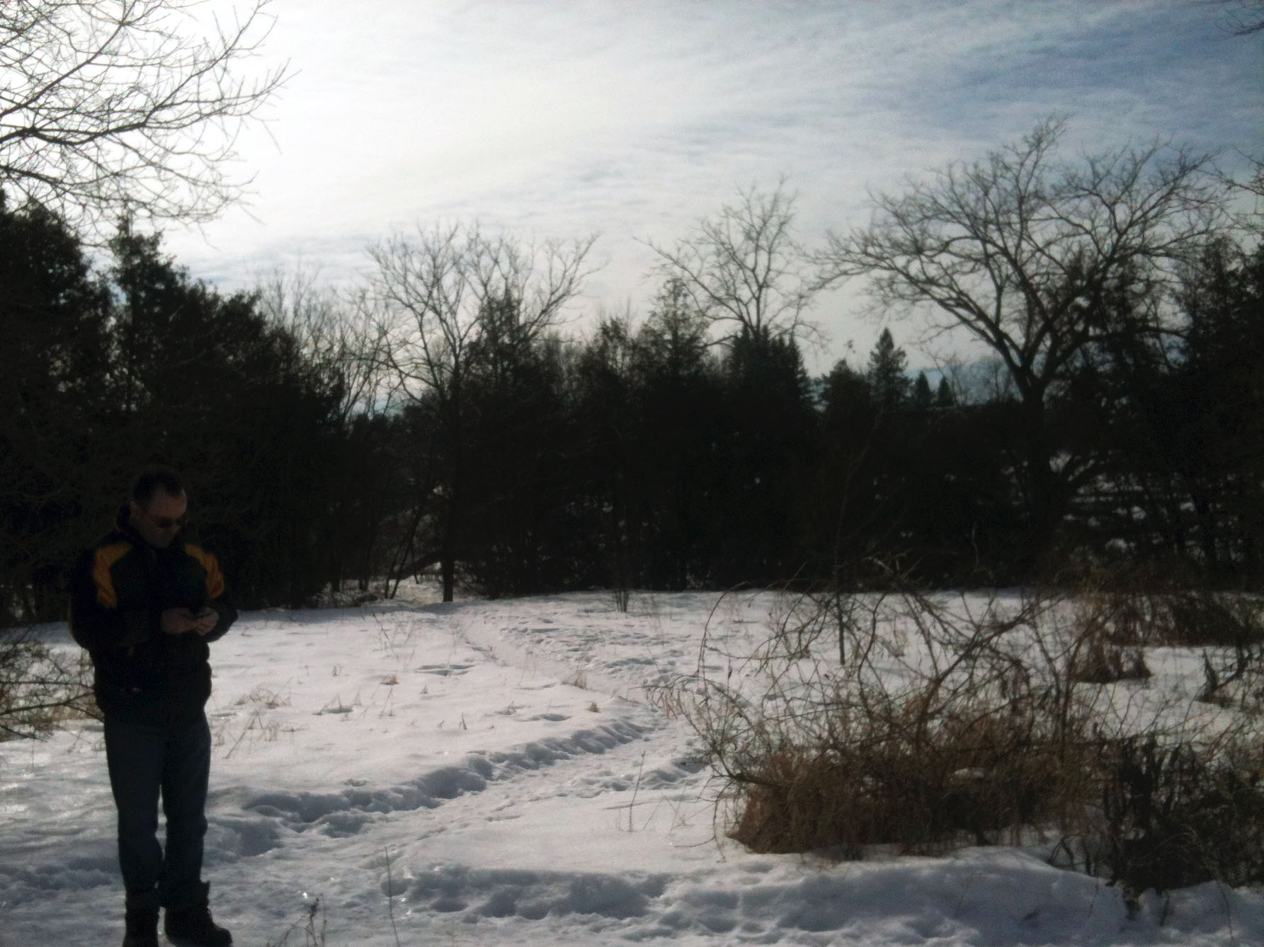 Morgana and her father scouting locations in February 2012