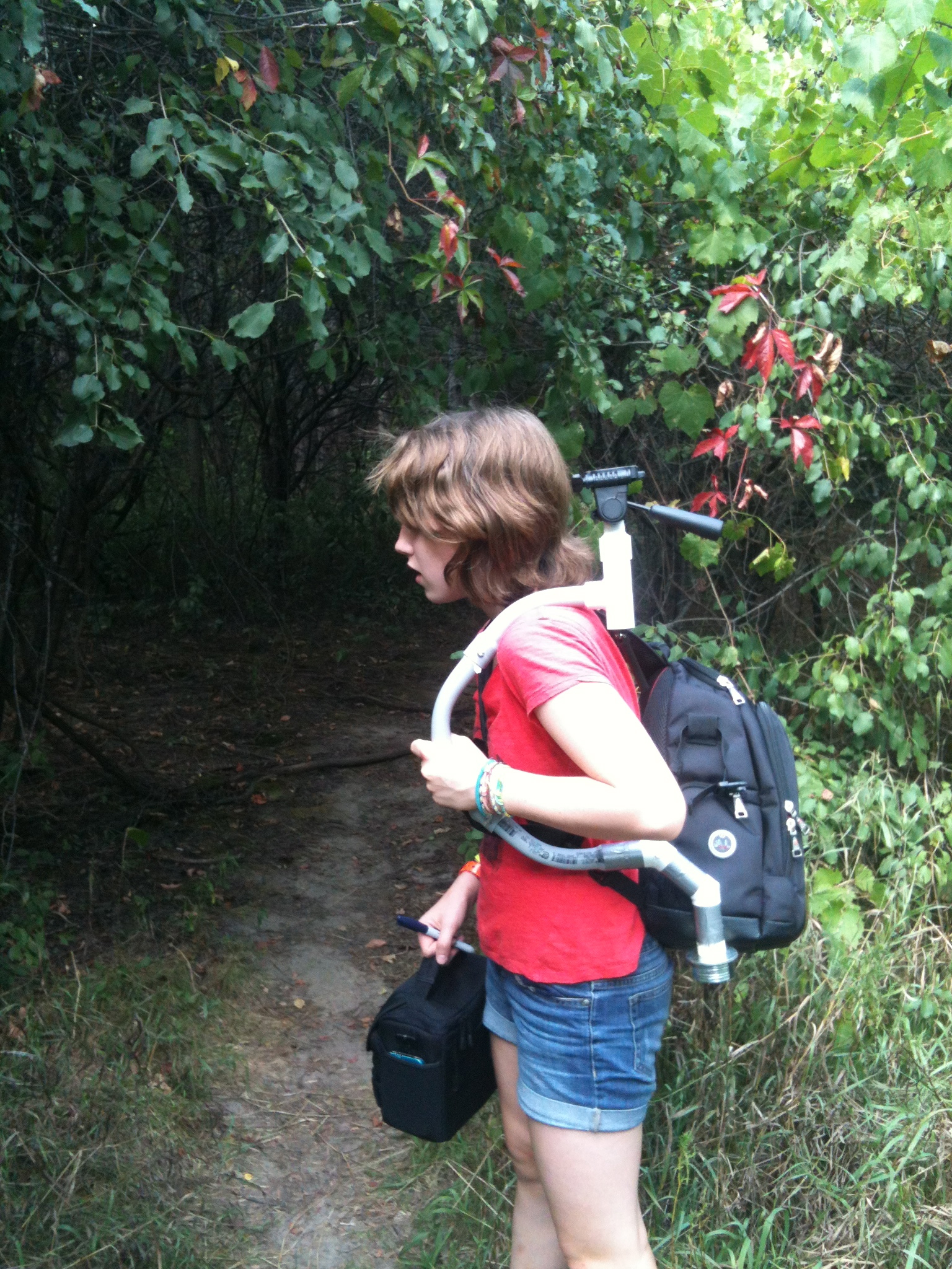 Heading into the woods with camera and DIY stabilizer