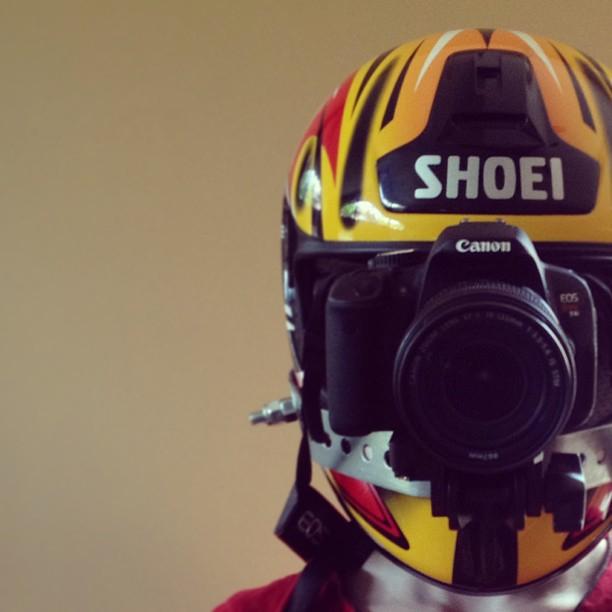 Racing helmet DSLR rig.