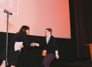 Morgana accepting the Best Emerging Female Filmmaker award from NFFTY Managing Director Stefanie Malone