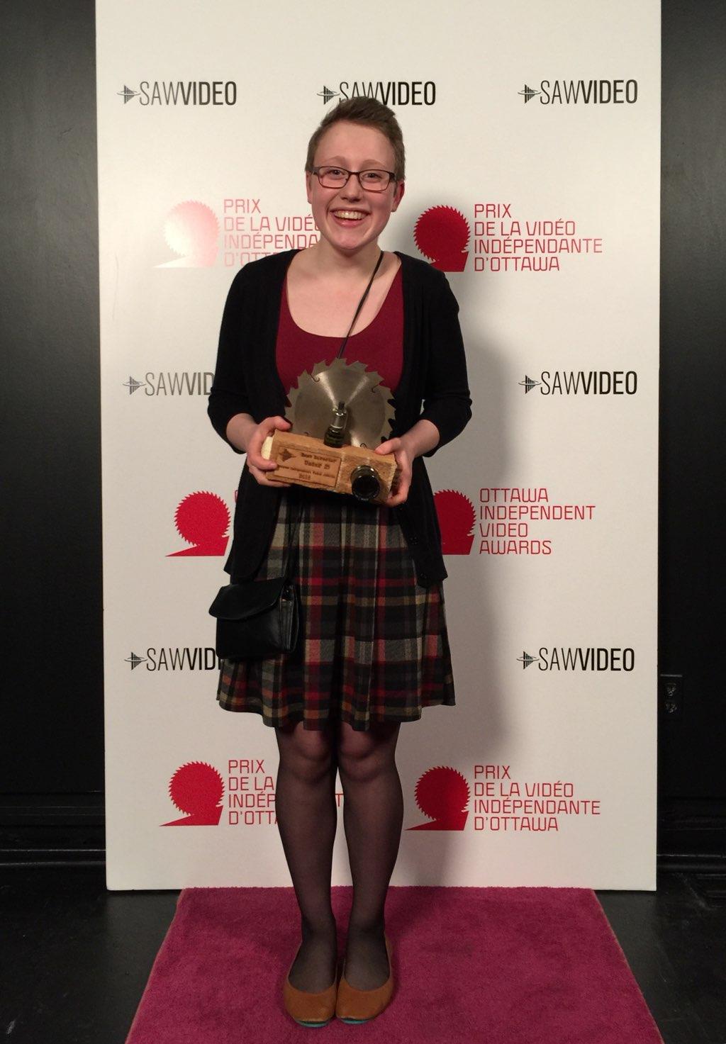 Morgana receiving her award at the OIVA gala