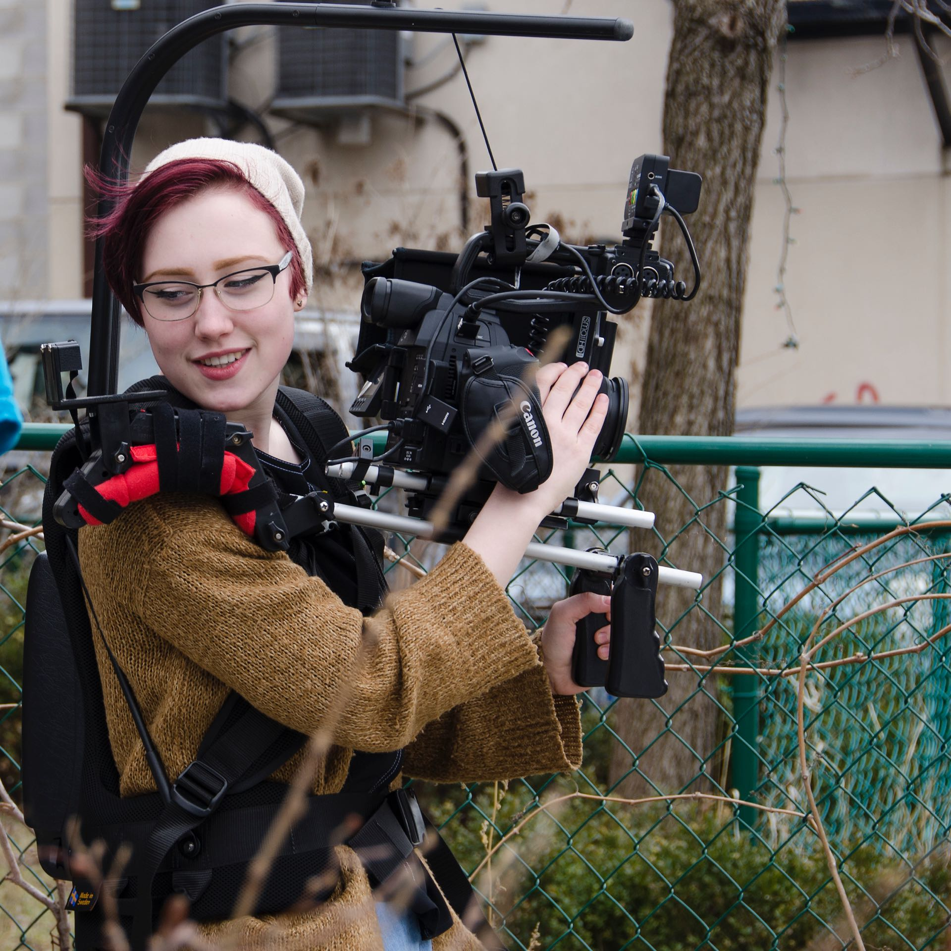 "Morgana working as cinematographer on location in Toronto for the production ""Standby"". (Photo credit: Amanda Koenig)"