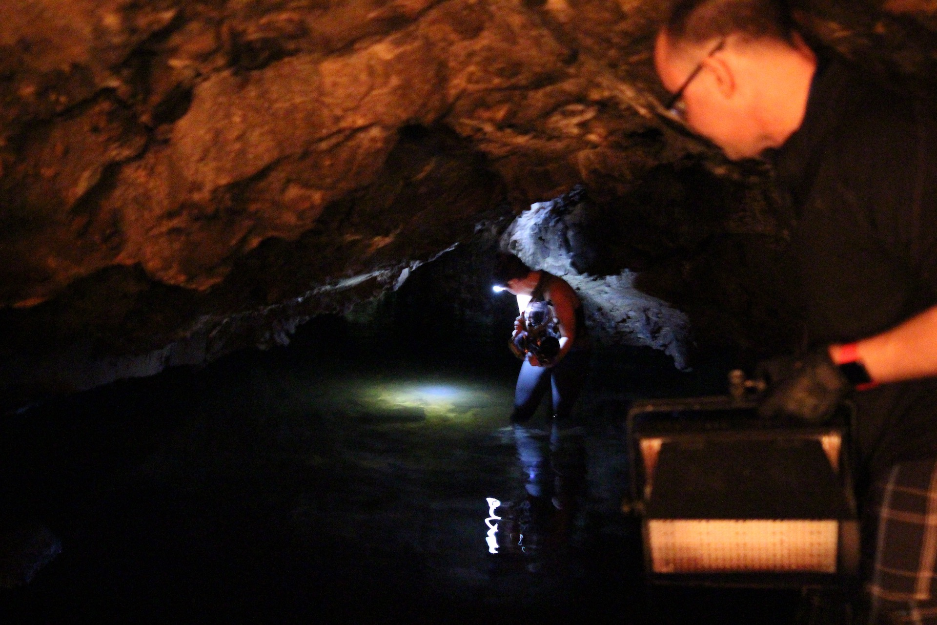 Morgana shooting in Lusk Caves, Gatineau Park. Photo credit: Patrick Murray.