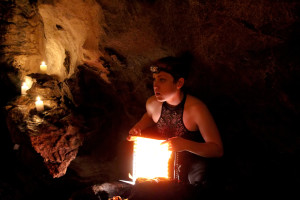 "Morgana lighting for ""Atlas World"" in Lusk Caves. Photo credit: Patrick Murray."